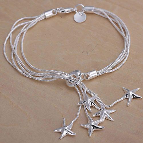 H099 925 pulseira de prata delicado, 925 delicado colar de prata moda jóias  Estrelas Pingente Pulseira aeoaivva awuajoba 5423475a0d