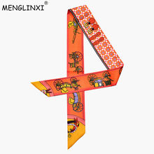 2019 Bag Scarf New Luxury Brand Women Small Silk Scarf Horse Print Head Scarf Handle Bag Ribbons Fashion Tie Long Scarves(China)
