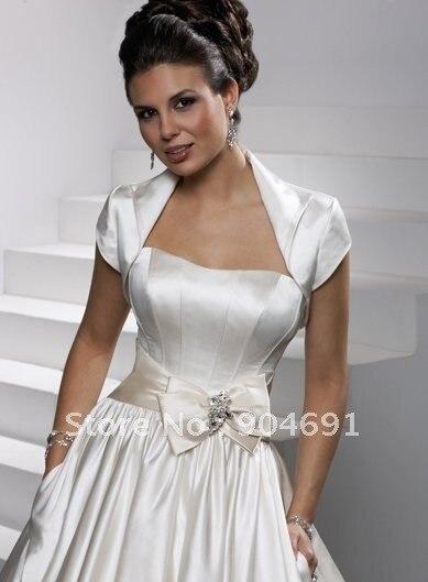 Whole Instock Custom Short Sleeves White Champagne Satin Wedding Dress Accessories Bridal Bolero Jacket