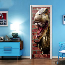 3D Dinosaur Door Stickers Creative Bedroom Decoration Vinyl Wallpaper Door Decals Boys Room Wardrobe Slide Door Renovation Mural(China)