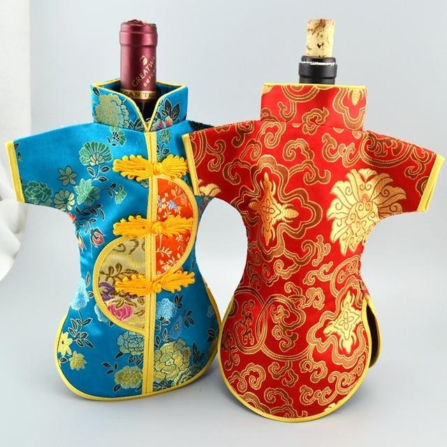 Vintage Chinesische Knoten Weihnachten Wein Flasche Tasche Abdeckung