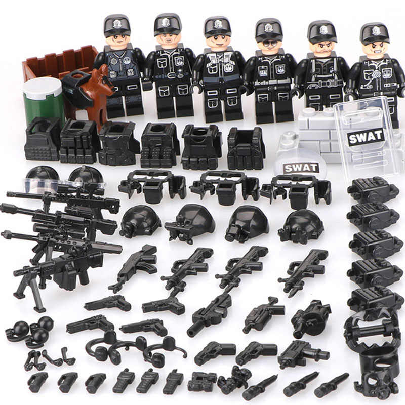 New LegoINGlys Military Series  6 in 1 Swat Technic Building Blocks Figures Educational Bricks Toys Children Gifts TBS11-16