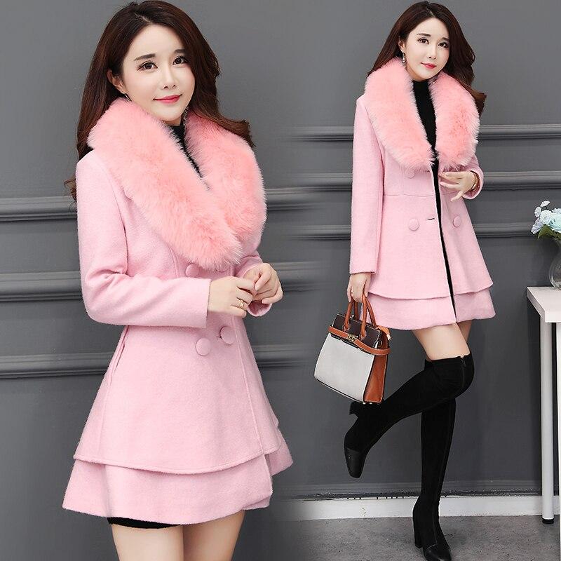 Br Autumn Winter Long Wool Coat Women Ruffles Wool Blend Coat and Jacket Removable Fur Collar Wool Women Coat Outwear
