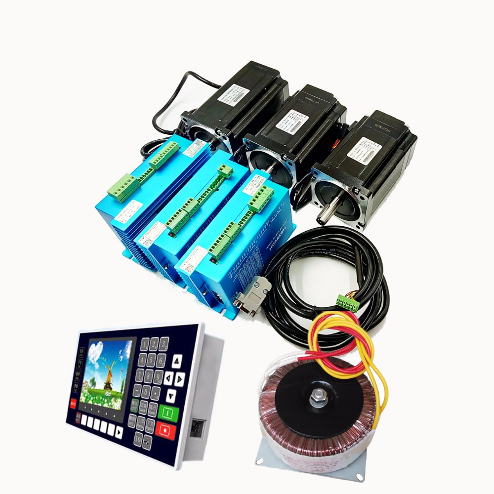 New 3 Axis NEMA34 2Phase 8.5N.m+8.5N.m+12N.m 60VAC 5.6A Closed Loop Stepper Kit Driver+Motor+Controller+60VAC Transformer 4 axis nema34 2phase 60vac 5 6a 12n m closed loop stepper kit driver motor controller 60vac transformer for cnc motion control