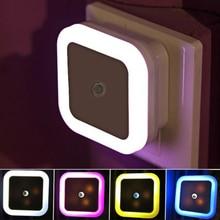 Portable Light Sensor Control Led Night Lights With AC EU US Plug Square Shape Home Babyroom Bedroom Desk Table Decoration Lamp