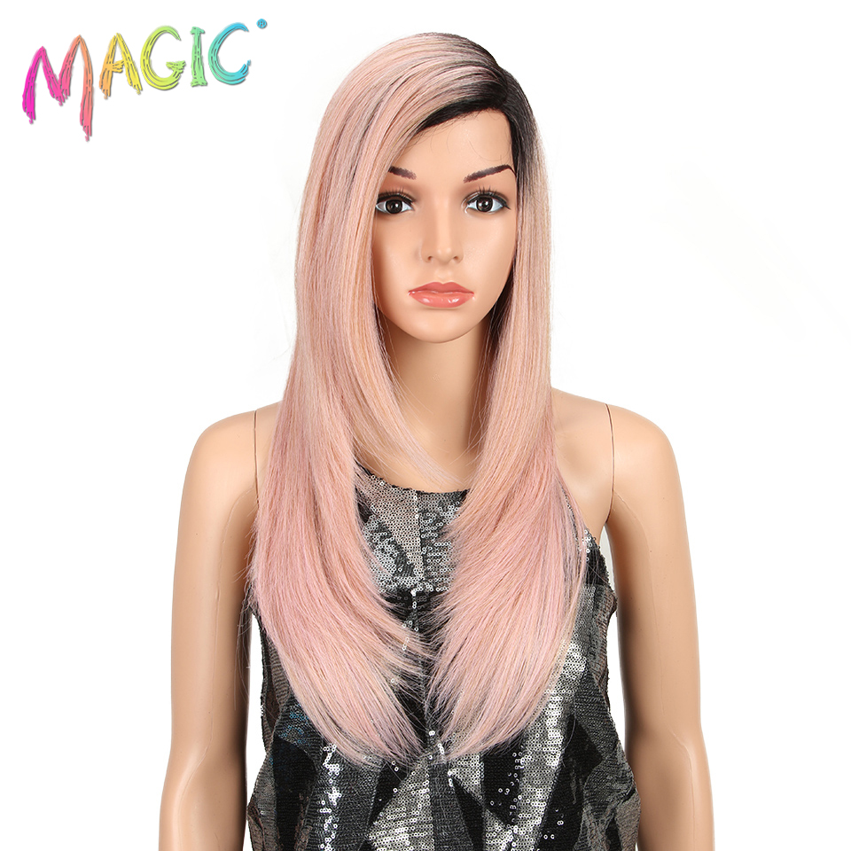 MAGIC Hair 24inch Long Straight Synthetic Lace Front Wigs For Black Women High Temperature Fiber Pink Natural Hairline Wig