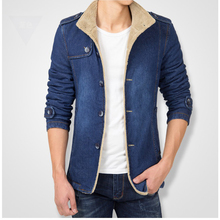 Fleece Lined Slim Fit Vintage Warm Thick Male Jean Jacket Winter Denim Trench Coat Men Plus Size 4XL Blue Black Colors