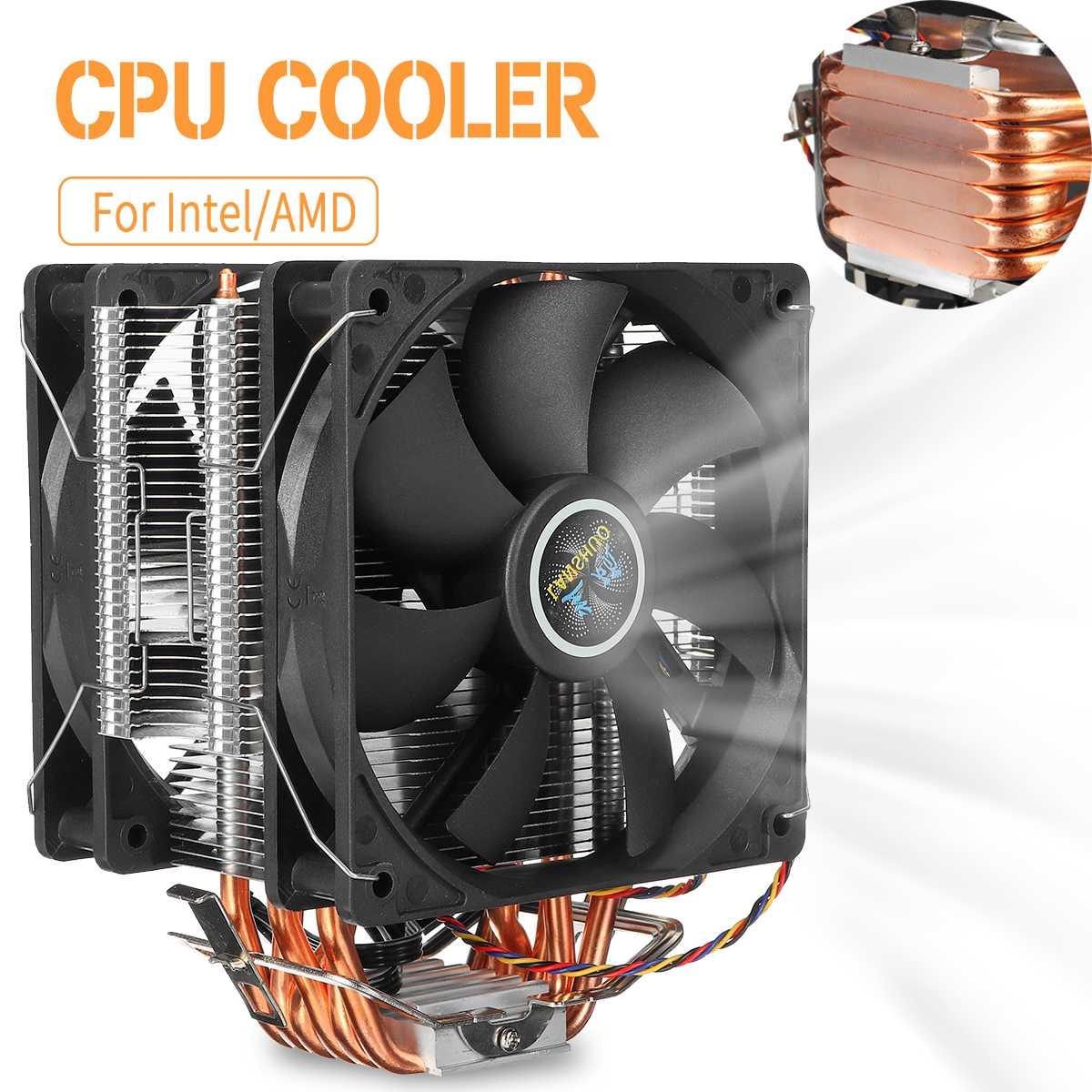12 cm double ventilateur refroidisseur de processeur radiateur 6 caloducs ventilateur refroidisseur de processeur refroidisseur de refroidissement pour LGA 1150/1151/1155/1156/1366/775/AMD