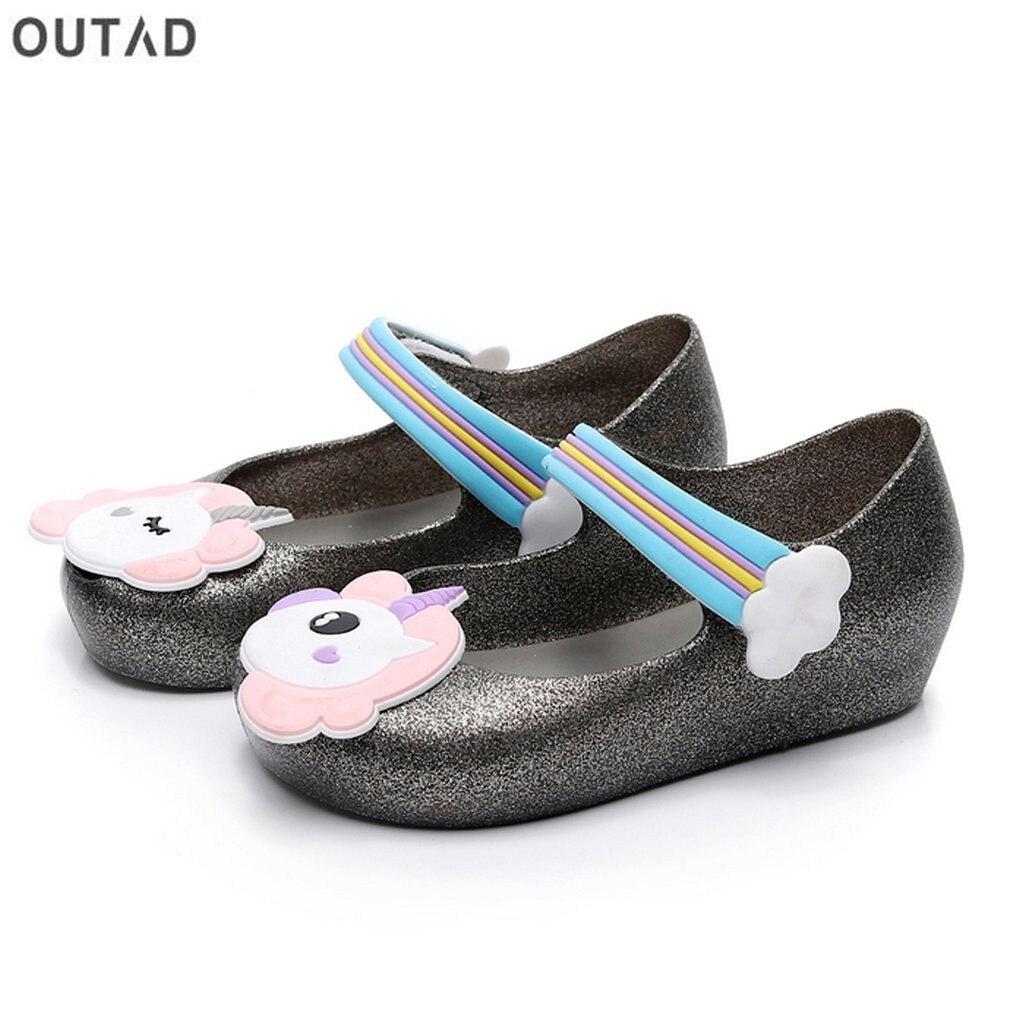 Детские сандалии для девочек противоскользящие прозрачная обувь с единорогом узор Decor & нейлоновая застежка мягкие пляжные сандалии Летняя...