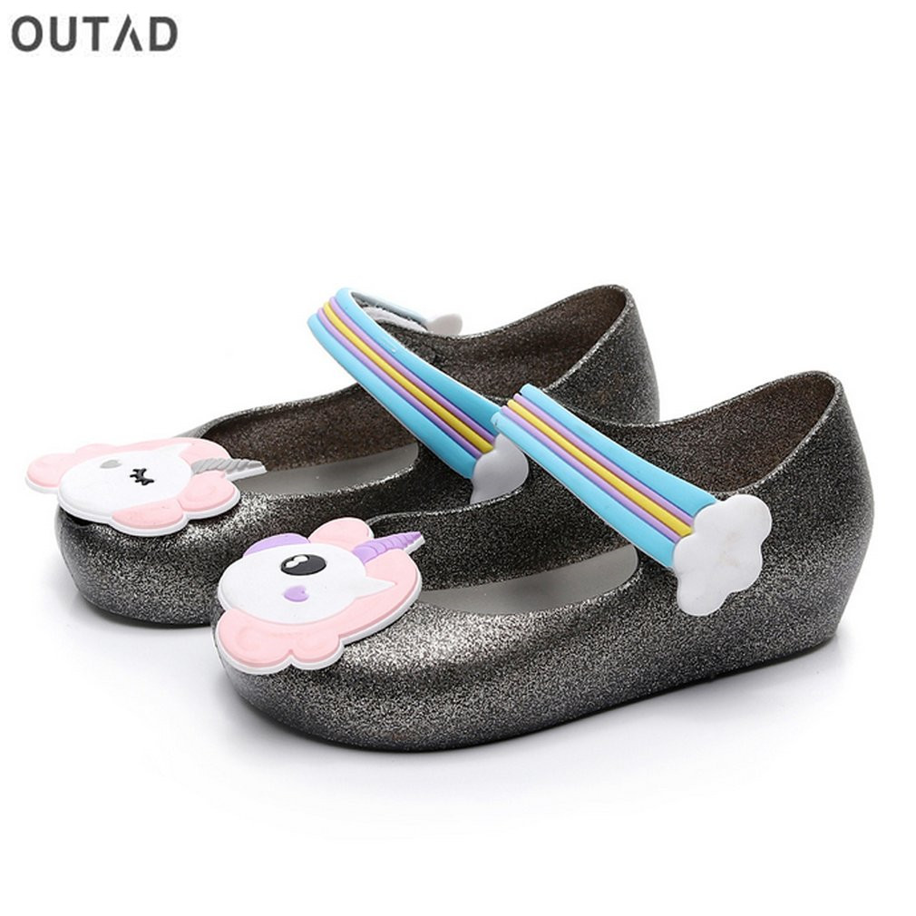 9484457314e Kids Girls Sandals Anti slip Jelly Shoes with Unicorn Pattern Decor   Nylon  Tape Closure Soft Beach Sandals Shoes Summer S -in Sandals from Mother    Kids on ...
