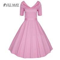 JLI MAY Elegant Vintage Dress Women Plus Size Office Party Evening Half Sleeve V Neck Slim