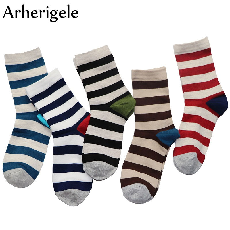 Arherigele 1pair Men Socks Mens Long Socks Causal Cotton Blends Art Colorful Compression Stripe Man Dress Socks Sokken Masculina