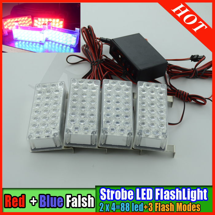 New 4pcs 22 LED Red Blue Car Strobe Flash Light Emergency Vehicle Dash Warning 3 Flashing Modes led car truck strobe led light bright amber 24 led strobe light warning emergency flashing car truck construction car vehicle safety 7 flash modes 12v