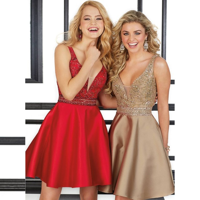 Amdml New Charmin Beaded Crystal A-Line Cocktail Dresses 2016 Sexy Deep V-Neck Satin Vestido Red Champagne Formal Dresses