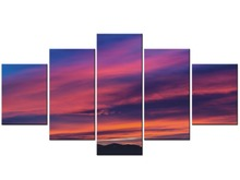 5 Panel sunset seascape scenery landscape picture sea waves beach large canvas painting for home wall art decor Framed J009-055