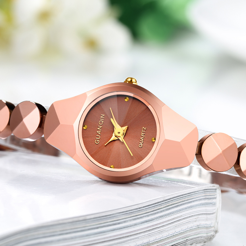 Original GUANQIN Fashion Watch Women Brand Luxury Women Watches Tungsten Steel Waterproof Quartz Watches relogio feminino Ladies guanqin fashion women watch gold silver quartz watches waterproof tungsten steel watch women business bracelet gq30018 b