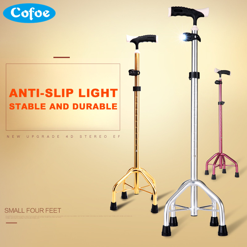 Cofoe Walking Stick Cane Hand Crutch Four Feet Multifunction Height Adjustable Antiskid Foursquare the Disabled Walking Aid