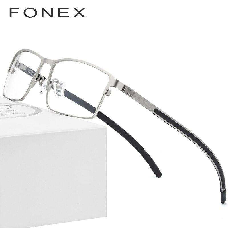 Aleación de titanio óptica gafas de Marco hombres ultraligero Plaza miopía anteojos recetados 2019 completa Metal sin tornillos gafas