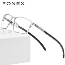 a27a683e9 سبائك التيتانيوم النظارات البصرية إطار الرجال خفيفة مربع قصر النظر النظارات  الطبية 2019 الذكور المعادن كامل