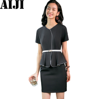 Black Summer Formal Wear Dress Female OL Fashion Elegant Plus Size Slim Sexy V Neck Ruffles