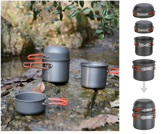 Camping Pots Set – 4 in 1 Foldable Cooking Cookware