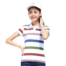 Brand New Women  Polo Shirt Summer Cotton Striped Polo Shirt Ladies Tops Short Sleeve Female Breathable shirt Big Size Clothes