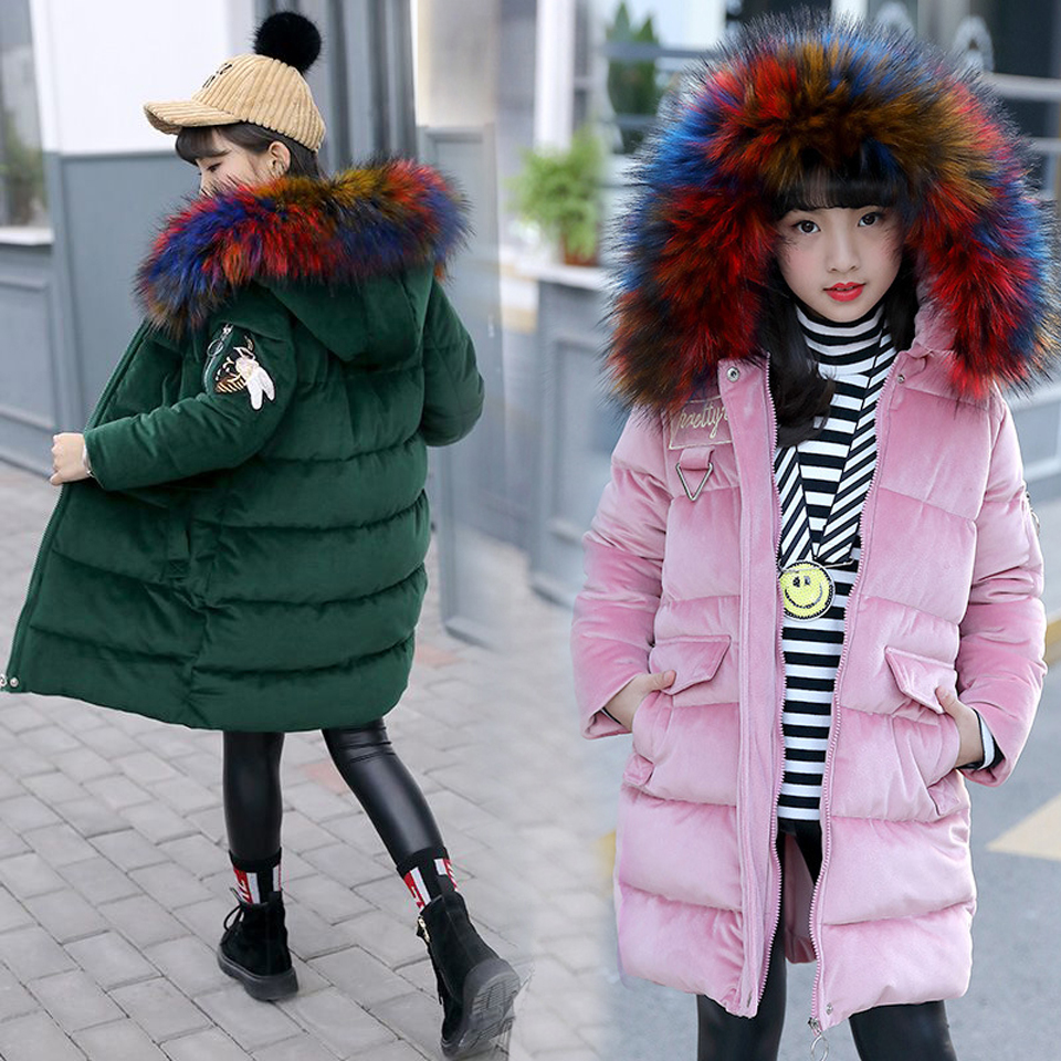 2018 Fashion Thick Warm Fur Hooded Girls Winter Coat Zipper Solid Child Winter Jacket For Girls Baby Kids Cotton Parka Down 2018 fur hooded solid solid baby fashion teenage winter jacket for girls cotton down parka girls winter thick warm kids coat