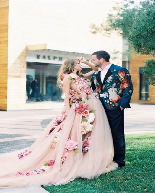 vestido de noiva 2016 vintage balón vestido de flores de color rosa