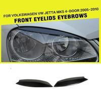 Carbon Fiber Car Front Headlamps Eyelids Headlight Eyebrows Trims For Volkswagen VW MK5 Jetta & Golf 5 MK5 GTI 2005 2009