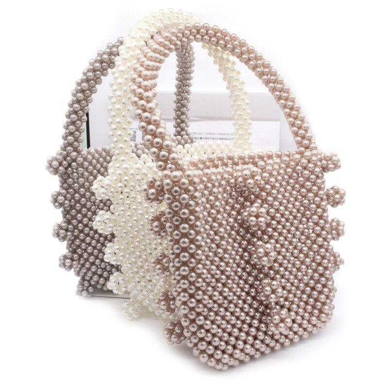 Femmes tissé à la main perle sac de plage été perlé sac à main dame top de fête poignée sac acrylique en plastique sac à main de luxe fourre-tout sac de soirée - 6