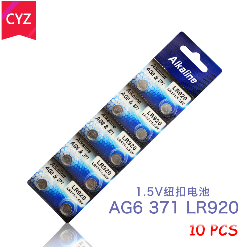 1 cards 10pcs/lot AG6 Button Battery Electronic Remote Control 1.55V LR920 SR920SW V371 SR927 171 Button Coin Cell Batteries 1 55v ag9 lr936 cell button batteries 10 piece pack
