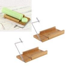 2 stücke Holz Edelstahl Seife Cutter Seife Machen Handwerk Schneiden Werkzeuge mit Draht Slicer für DIY Weihnachten, hochzeit Seife Geschenk