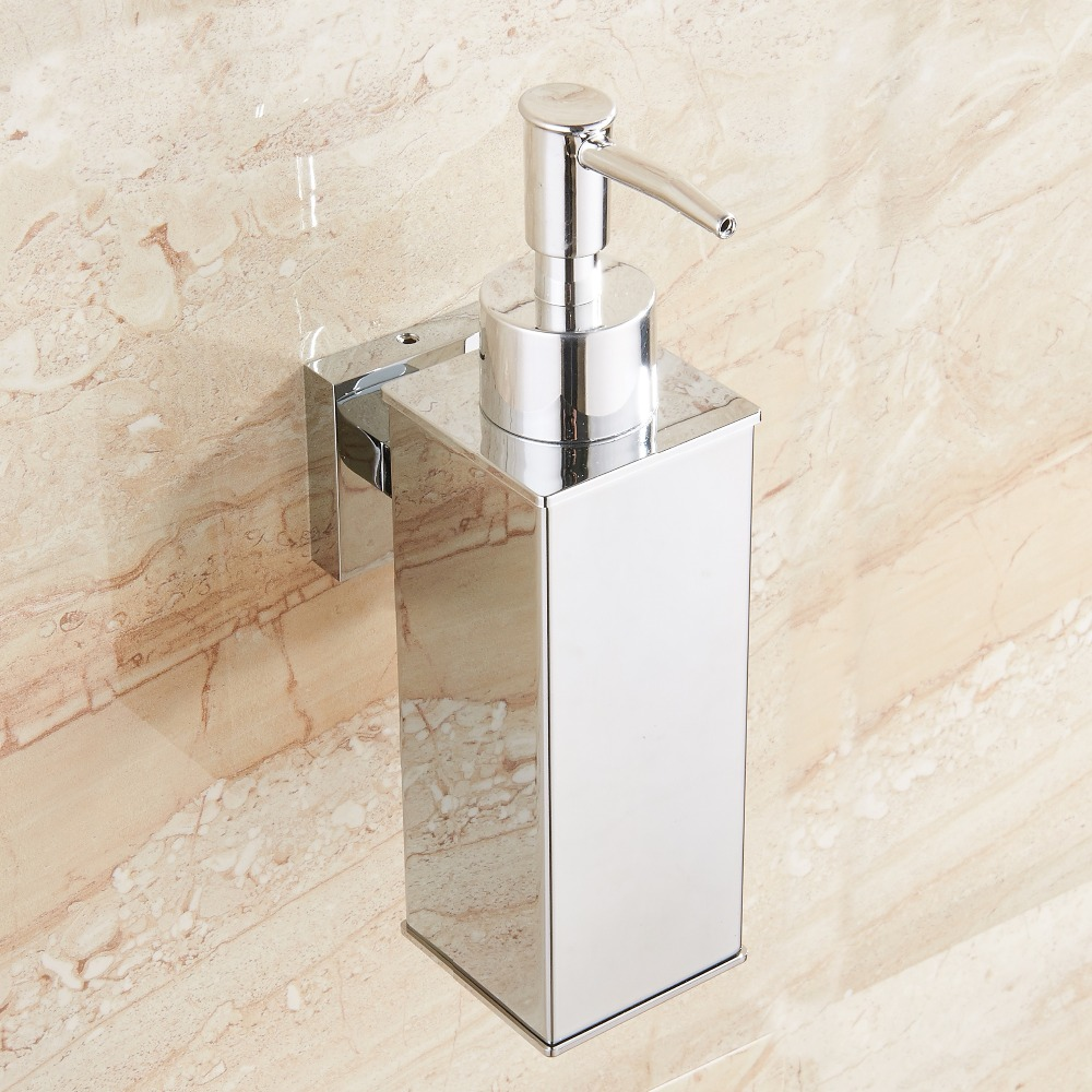 Image 4 - Stainless steel soap dispenser hand Liquid Soap Dispenser squeeze wall mounted hotel bathroom kitchen square design-in Liquid Soap Dispensers from Home Improvement