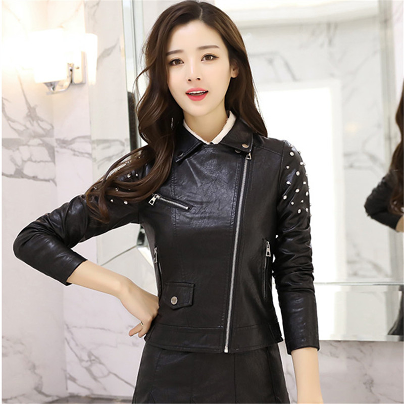 Noir Surdimensionné Haute Rivet Streetwear De Mode Bomber 3xl Veste Parka Pu Moto Femmes Qualité Moulante qwx17qZO