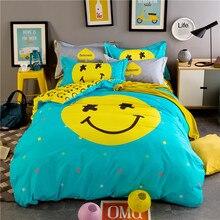 -Смайлик-подушка + простыня пододеяльник хлопок королева покрывало одеяло покрывало король близнец двуспальная кровать крышка синий и желтый печати