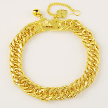 Fashion Men Bracelet 24K Yellow Gold Color Plating & Bangle Male Accessories Hip Hop Party Rock Jewelry