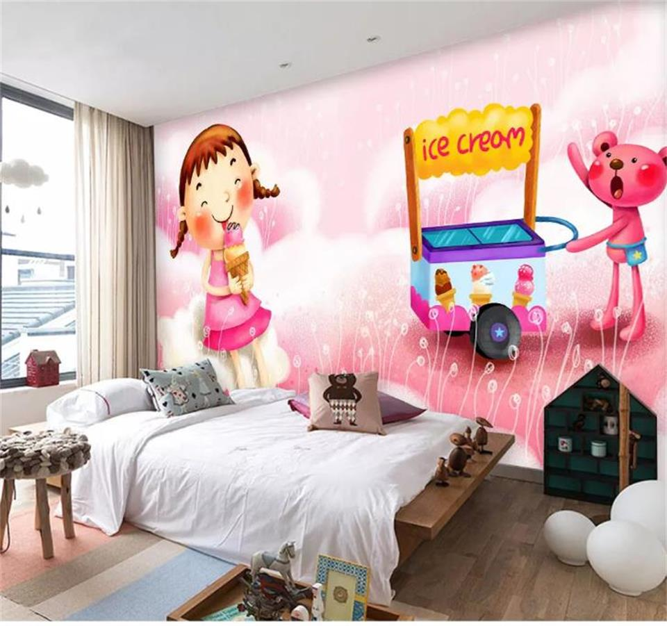 3d Photo Wallpaper Custom Living Room Mural Pink Ice Cream
