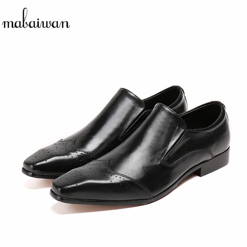 Mabaiwan Fashion Black Fashion Men Shoes Slipper Flats Wedding Dress Casual Shoes Men Genuine Leather Loafers Plus Size 38-46 fashion tassels ornament leopard pattern flat shoes loafers shoes black leopard pair size 38