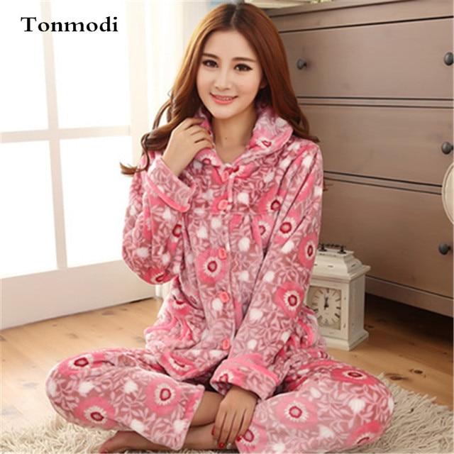 Pajamas Women Winter Warm Flannel Pajamas Cardigan Ladies Pajamas Women s  Sleep Lounge Pajama Sets 202ba99ef519