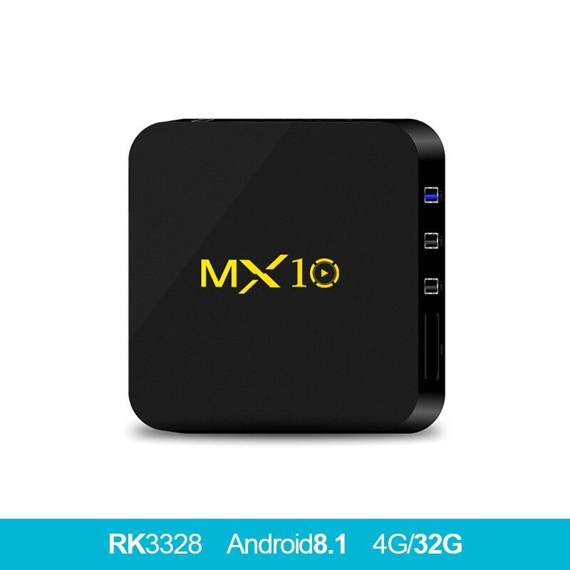 MX10 Android 8.1tv 4GB DDR4 32GB eMMC TV BOX RK3328 Quad Core 17.4 4K HDR 2.4GHz WIFI USB 3.0 Smart Set Top Box PK x96mini