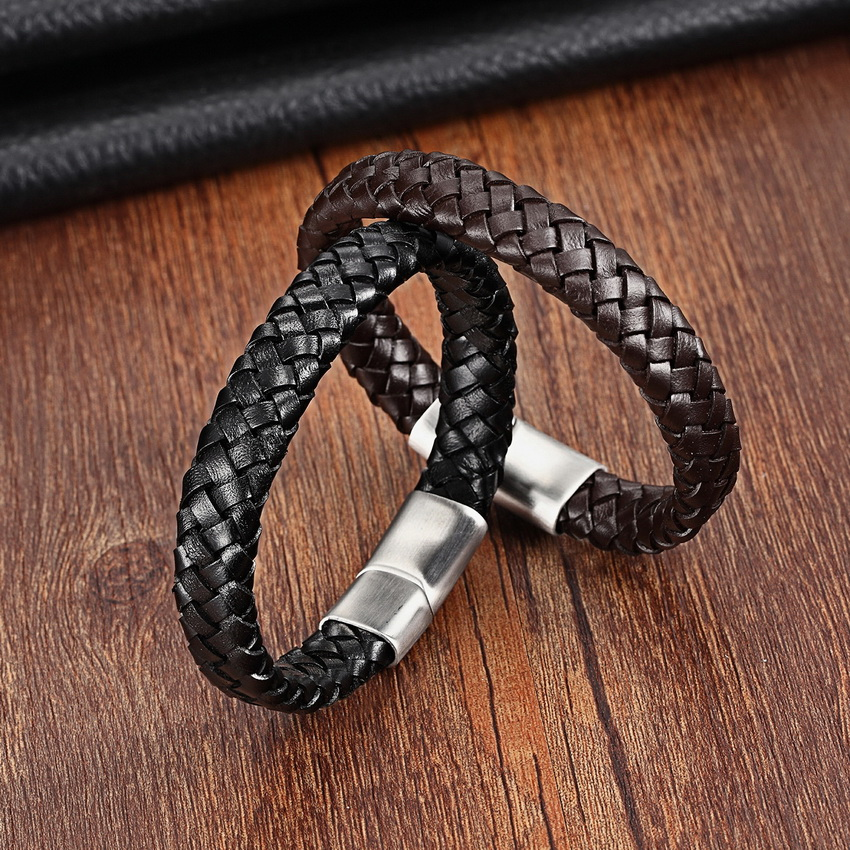 XQNI Top kvalitet 3 farve flettet ægte læder armbånd til mænd - Mode smykker - Foto 3