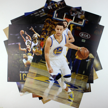 8*(42x29cm)NBA basketball star Stephen Curry Warriors 8 mounted poster sticker mural wall stickers