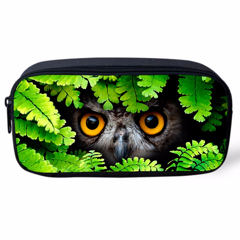 Women Cosmetic Makeup Pouch Bag 3D Animals Leopard Wolf Owl Print Portable  Student Stationery Pencil Bag School Office Supplies