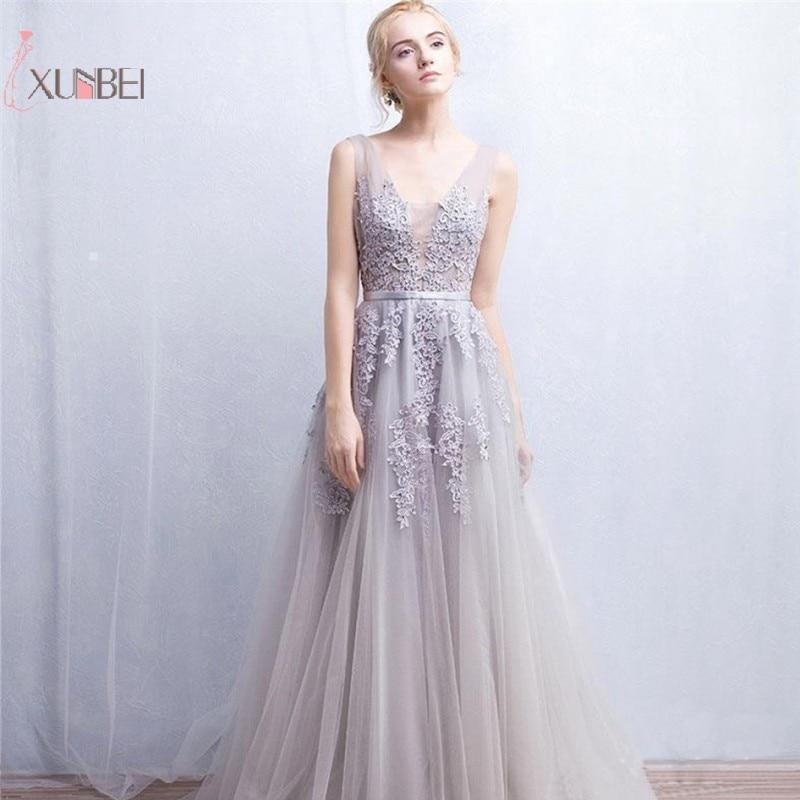 Elegant Tulle Sleeveless   Prom     Dresses   2019 Backless V Neck Long   Prom   Gown Gala   Dress   Vestido de festa Longo New