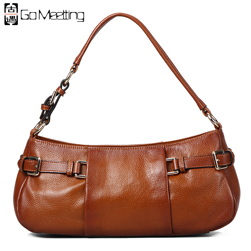 Go Meetting Brand Genuine Leather Women Shoulder Bags High Quality Cow Leather Women Bag British Classic Vintage Handbags WD33 go meetting vintage genuine leather women s handbags sprayed color cow leather women shoulder bag high quality messenger bags