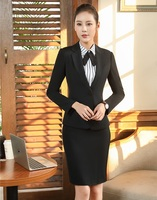 AidenRoy Formal Black Blazer Women Skirt Suits Ladies Business Suits Office Uniform Styles Elegant