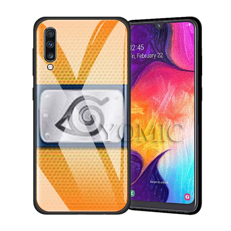 Tempered Glass Phone Case for Samsung Galaxy A50 A30 S10e S9 S8 S10 Plus Note 9 10 Luxury Anime Phone Coque Cover Naruto Sasuke in Fitted Cases from Cellphones Telecommunications
