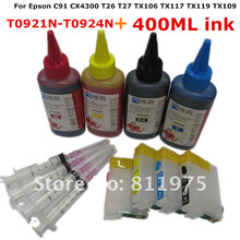 T0921N-T0924N Refillable ink cartridge for EPSON T26 T27 TX106 TX117 TX119 TX109 C91 CX4300 Printer + for EPSON Dey ink 400ML