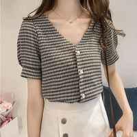 2018 Blouse Shirt Women's Korean Style V Neck Fashion Clothing Short Sleeve Women Tops And Blouses Female Clothes Stylish Ladies
