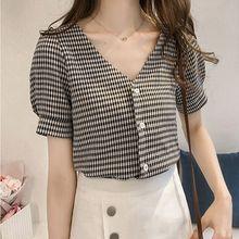 2018 Blouse Shirt Women's Korean Style V Neck Fashion Clothing Short Sleeve Wome